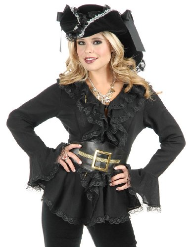 South Seas Blouse Adult Costume Black - (Renaissance Wench Sexy Costumes)