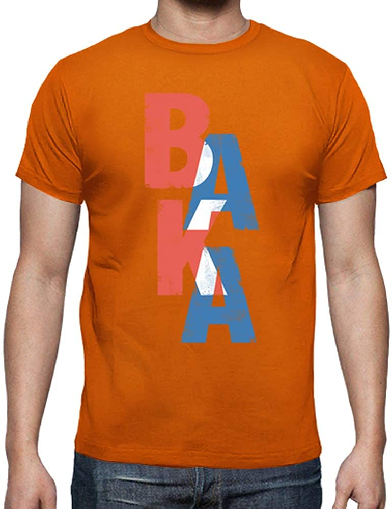 latostadora - Camiseta Baka Palabra Japonesa para Hombre Naranja S: Amazon.es: Ropa y accesorios