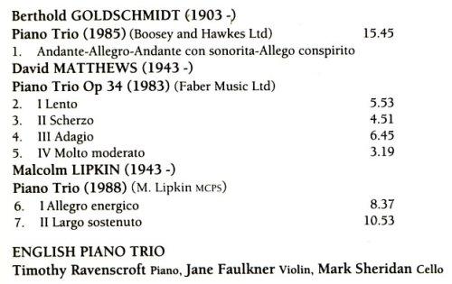 Amazon.com: English Piano Trio Plays Trios By Goldschmidt ...