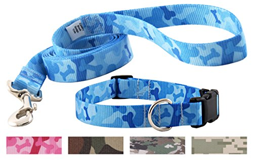 Country Brook Petz Blue Bone Camo Deluxe Featherweight Collar & Leash - Extra Small ()