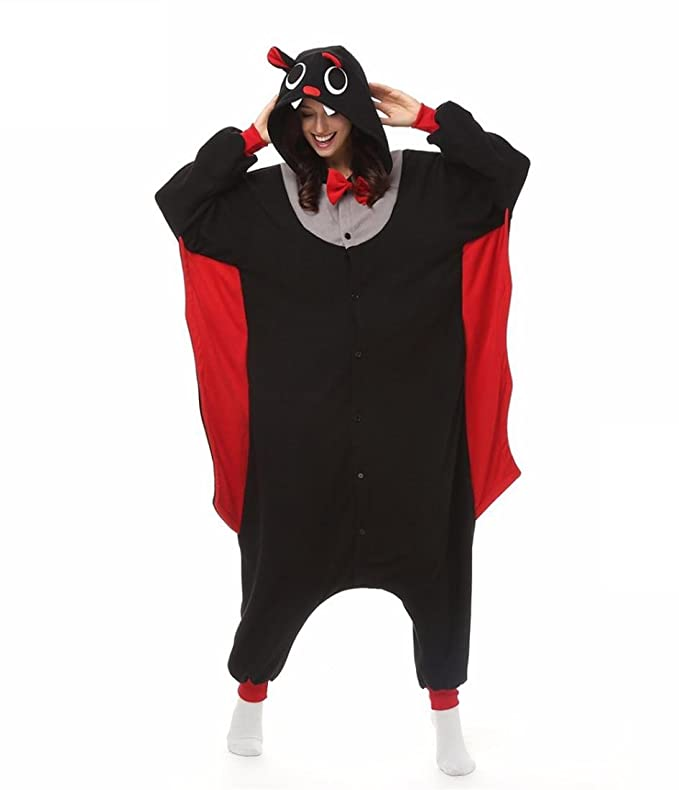 Amazon.com : HYY@ Kigurumi Pajamas Bat Leotard/Onesie / Slippers Halloween Animal Sleepwear Black Patchwork Coral fleece Kigurumi Unisex Halloween : Sports ...