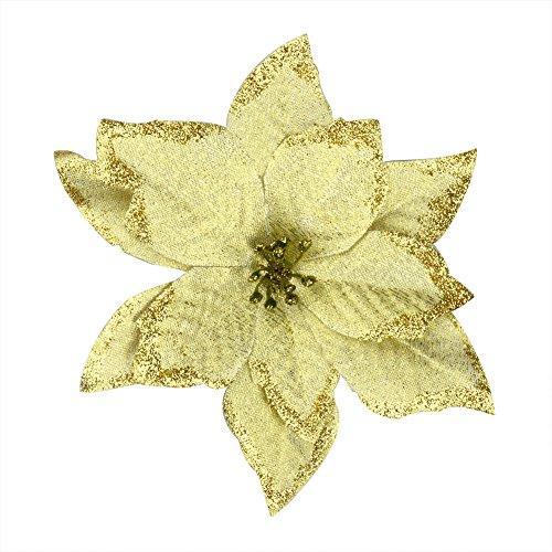 6Pcs 5 Inch Glitter Artificial Wedding Christmas Flowers XMAS Tree Wreaths Decor Ornament Gold