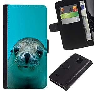 LECELL--Cuero de la tarjeta la carpeta del tirón Smartphone Slots Protección Holder For Samsung Galaxy Note 4 IV -- LINDO FELIZ LEÓN DE MAR DEL PERRO --