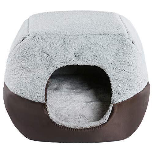 Hollypet Coral Velvet Self-Warming 2 in 1 Foldable Cave House Shape Nest Pet Sleeping Bed for Cats and Small Dogs, Gray
