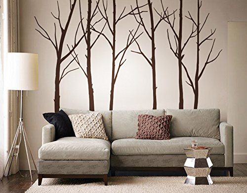 Designer Playground P036 Winter Tree Vinyl Wall Decal 6 Trees Set 108Inch (Winter Decal Set)