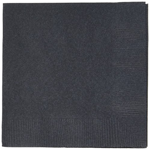 Jet Black 3-Ply Beverage Napkins | Pack of 20 |Party Supply ()