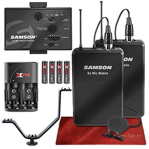 (Samson Go Mic Mobile Professional Digital Wireless System with Dual LM8 Lavalier Mic and Belt Pack Transmitter Bundle)