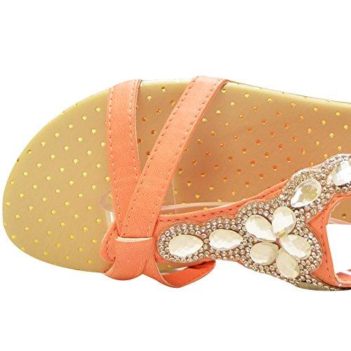 Sint�tico Xelay Pink Mujer de Destalonado Slingback Diamante Flat rURqEUIx