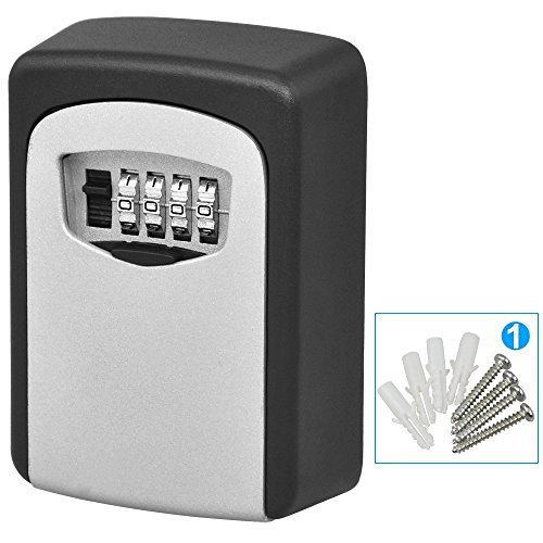 MONY Wall Mount Key Lock Box House Security Key Safe Box 4 Combination Code Key Storage Box Waterproof for Sharing Your Keys Securely Indoor and Outdoor Holes Up to 5 Keys