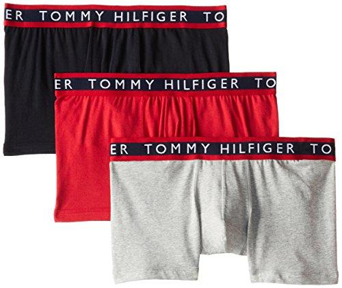Tommy Hilfiger Men's Underwear 3 Pack Cotton Stretch Trunks, Black/Grey/Red, Medium from Tommy Hilfiger