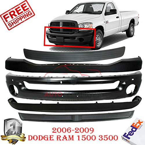 (New Front Bumper Cover Upper Fascia For 2006-2009 Dodge Ram 1500 2500 3500 Lower Valance Face Bar Filler Direct Replacement black Set of 5 CH1019103 CH1014100 CH1002377 CH1090125 CH1091101)