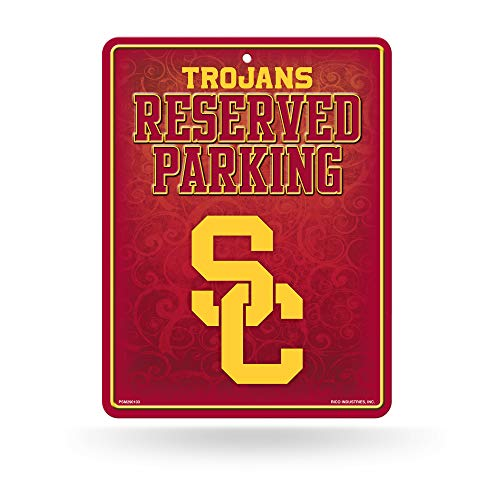 (NCAA USC Trojans 8-inch by 11-inch Metal Parking Sign Décor)