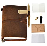 IDEAWIN Handmade Refillable Leather Journal Antique Writing Notebook Genuine Leather Refillable Diary for Men Women Writing, Drawing, Sketching