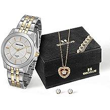 Kit Relógio Seculus Feminino Analógico Bicolor 28680LPSVBA2K1 com Colar e Brincos