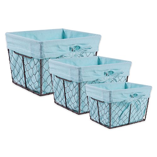 Decor Home Fabric (DII Farmhouse Vintage Food Safe Metal Chicken Wire Storage Baskets with Removable Fabric Liner for Home Décor or Kitchen Use, Mixed Set of 3, Aqua)