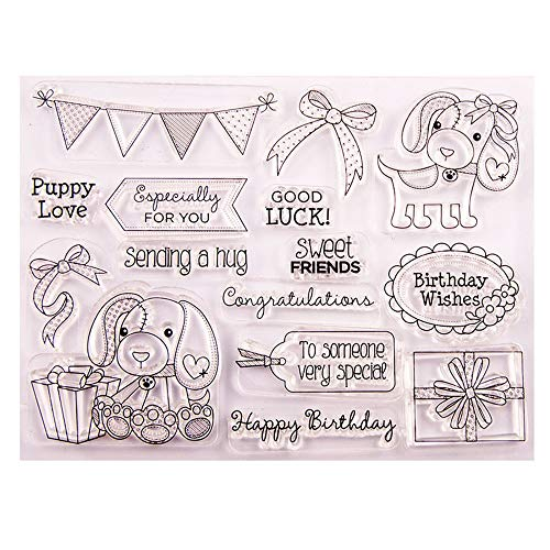 Dogs Puppy Love Happy Birthday Wishes Greeting Phrase Stamp Rubber Clear Stamp/Seal Scrapbook/Photo Album Decorative Card Making Clear Stamps