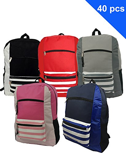 (Wholesale Classic Backpack 18 inch Printed Basic Bookbag Bulk Cheap Case Lot 40pcs Simple Schoolbag Promotional Backpacks Low Price Non Profit Giveaway Student School Book Bags 5 Assorted Colors)