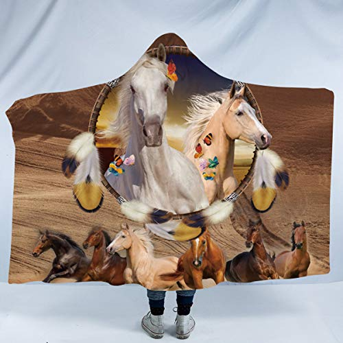 Sleepwish Western Horse Soft Fleece Throw Blanket Galloping Horses Dream Catcher Sherpa Lined Hooded Blanket Horse Gifts for Women (Brown,Kids 50