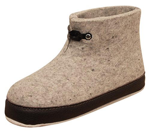 Handmade Boiled Wool Slippers for Men and Women Exclusive Indoor Grey Norwegian House Shoes