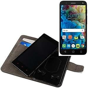 Funda para el Alcatel One Touch Pop 4, Walletcase hecho de cuero sintético en negro, monocromático y simple. Bolsillo para el teléfono móvil con ranuras para tarjetas de crédito y la función del soporte. BookStyle bisagras de la manga para los teléfonos inteligentes. A prueba de golpes del caso, la piel suave cubierta del teléfono móvil funda protectora. Protección integral robusta premium Case Flipstyle | envío de Alemania en un día laborable