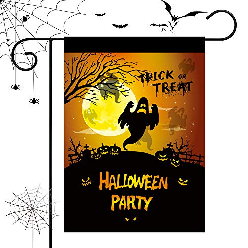 - Happy Halloween Home Garden Flag House Double Faced Trick Or Treat Ghost & Cat 28''x40'' Inches Festive Decoration.