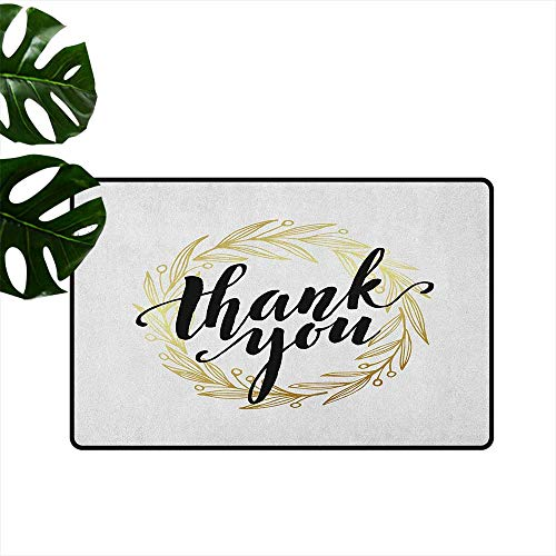 RenteriaDecor Modern,Doormat Thank You Quote Surrounded by The Olive Leaves Like Ivy with White Background 36