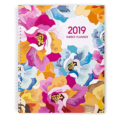Shiplies Floral Blooming January-December 2019 Weekly & Monthly Planner with Monthly Tabs, Twin-Wire Binding, 8.5