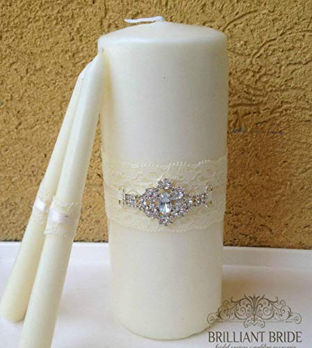 (Wedding Unity Candles (White OR Ivory with Silver or Gold Diamond Rhinestone Buckle) - Candle Set with Lace, Ribbon, and Bling )