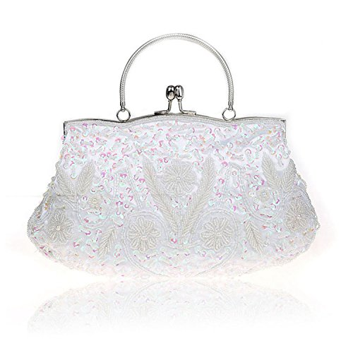 Beads Bags Women Exquisite Clutch Bridal Party Handbag Ladies Wedding Bolsos Embroidered Beaded Wristlet White Small Evening q5qExUwgr