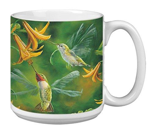 Tree-Free Greetings Extra Large 20-Ounce Ceramic Coffee Mug, Ruby Wings Themed Bird Art (XM29511)
