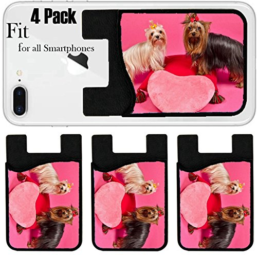 Liili Phone Card holder sleeve/wallet for iPhone Samsung Android and all smartphones with removable microfiber screen cleaner Silicone card Caddy(4 Pack) Two Yorky dogs with Valentines pink heart stu by Liili