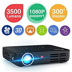 Specification OS: Android 4. 4 (WIFI 2. 4G&5G/Bluetooth 4. 0) Speaker: Built-in Projector technology : DLP Resolution: 1280*800 (supports 1080p and 3D) Brightness: 3500 Lumens (works best at night) Multi-screen Sharing: Airplay/Miracast/D...