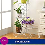 YF Iron Flower Frame Floor Style Flower Bed Frame Indoor And Outdoor Living Room Balcony Flower Rack 4 Layers (502680cm) (Color : White)