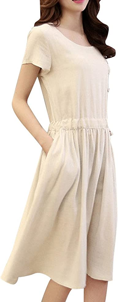 Fudule Women Dresses Womens Casual Dress Fashion Women Short Sleeve O Neck Pocket Cotton Linen Loose Casual Dresses