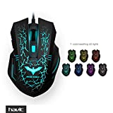 HAVIT HV-MS672 Ergonomic Wired Mouse, 7 Soothing LED Colors, 6 Buttons [ 2017 Model ]
