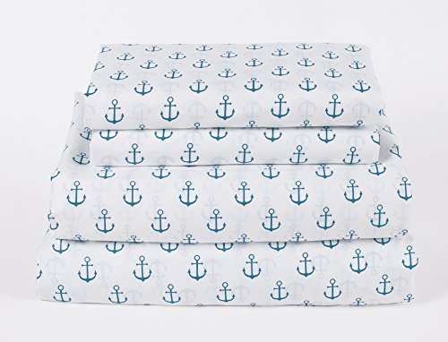 How Plumb Nautical Anchor Queen Size 4 Piece Sheet Set Microfiber Blue and White Coastal Beach Theme