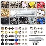 Snap Fastener Kit 12 Colors, 120 Sets Metal Snap On Buttons Set Press Studs with Fixing Tools for Thin Leather Bracelet, Shirt, Skirt, Jacket, Jeans, Bags Repair and Decoration - 12.5mm in Diameter