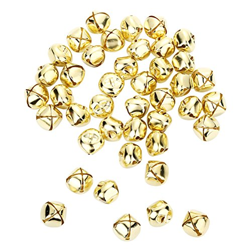 1/2 Inch Jingle Bell - Shappy 100 Pieces Jingle Bells, 0.5 Inch Metal Bells Mini Craft Bell Bulk for DIY Decoration (Gold Color)