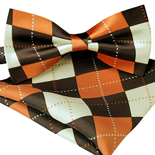 ST34 Brand new Silk feel SATIN Orange and Brown Argyle Plaid Bow tie for Men Bow tie and Pocket square SET BB-1028 - Argyle Mens Tie