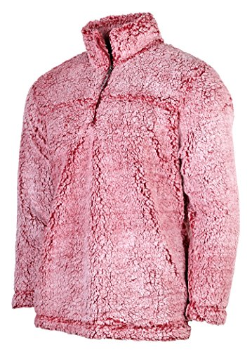 - Boxercraft Adult Super Soft 1/4 Zip Sherpa Pullover-Snowy Garnet-large
