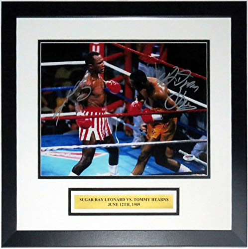 (Sugar Ray Leonard and Tommy Hearns Dual Signed 11x14 Photo - PSA DNA COA Authenticated - Professionally Framed & Plate)