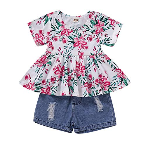 CARETOO Girls Clothes Outfits, Cute Baby Girl Floral Short Sleeve Pant Set Flower Ruffle Top Rose Red]()