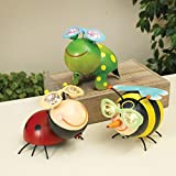 8'' Solar Lighted Metal Garden Critter Lady Bug Bumblebee Figures Statues Decor