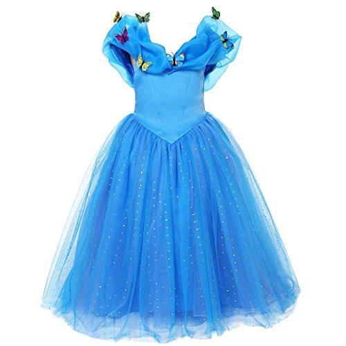 UK ELSA & ANNA? Girls Party Outfit Fancy Dress Snow Queen Princess Halloween Costume Cosplay Dress UK-CNDR4 (6-7 years, UK-CNDR4) by ELSA & ANNA by UK1stChoice-Zone
