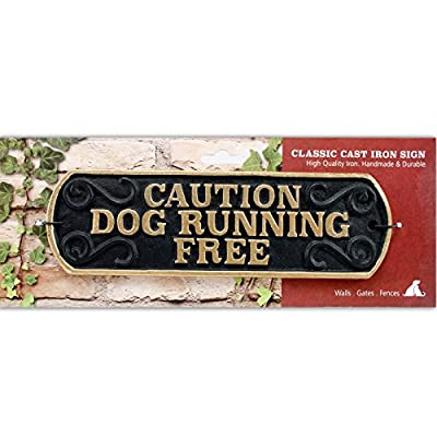 Caution Dog Running Free Cast Iron Landscape Sign