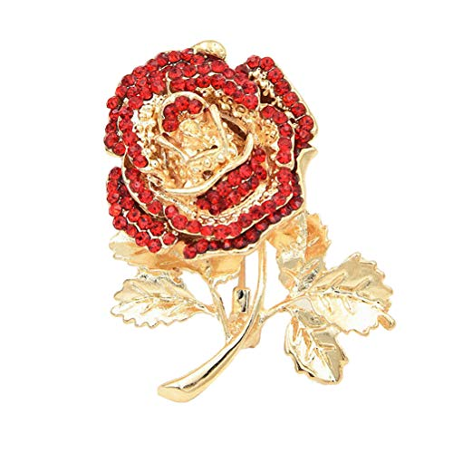 - Wedding Brooch pins Women Bouquet Rhinestone bee Rose Flower Butterfly Pearl (MC Gold Rose Flower red)