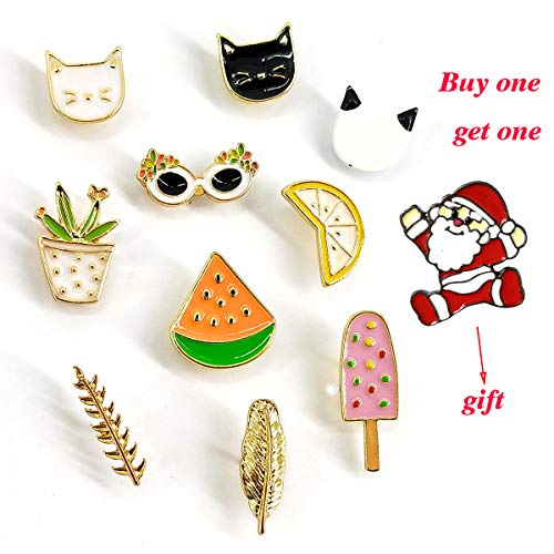 - MeliMe Cute Cat Animal Floral Fruits Enamel Brooch Pins Cartoon Lapel Pins Lovely Badge for Women Kids Clothing Decoration (Cute cats fruits leaves set of 10)