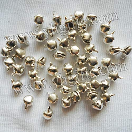 Dalab 500PCS/LOT.10mm Silver Bells.Christmas Tree oranment.Jingle Bells,Crat Material, Handmade Lacing Bells,