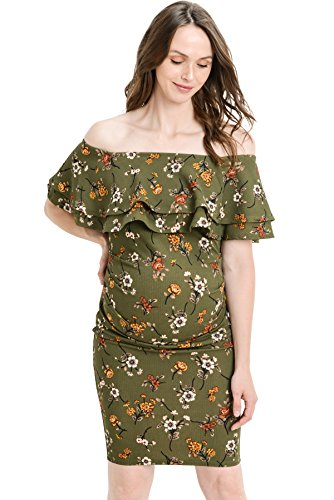 LaClef Women's Off Shoulder Maternity Dress with Double Ruffle (Olive/Yellow, L)