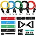 Odoland 16 Pcs Resistance Bands Set Workout Bands And Rehab Bands Heavy Exercise Bands Fitness Bands With Door Anchor Ankle Strap Resistance Loop Bands For Gymnastics